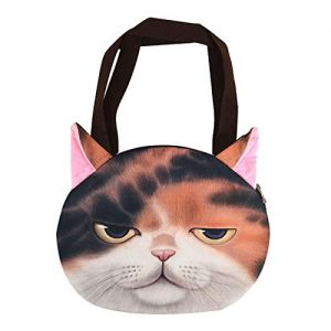 Shoulder Bag Premium 3D Print Cat Face Motif Calico